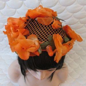 Accessories - Vintage Orange Flower and Green Leaf Hat